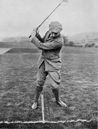 PLATE XLI. PLAY WITH THE IRON FOR A LOW BALL (AGAINST WIND). TOP OF THE SWING